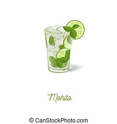 Mojito glass icon, realistic vector illustration