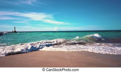 waves at the shore of the resort of Varadero slow motion