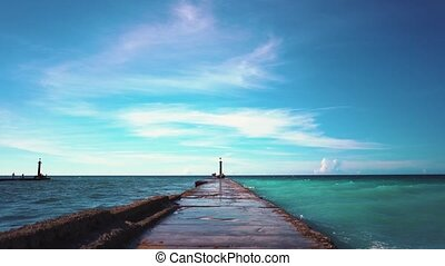 Breakwater on the coast of Cuba, slow motion