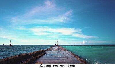 Breakwater on the coast of Cuba, slow motion