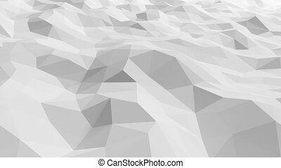 Beautiful White Polygonal Surface Waving in Looped 3d Animation. Seamless Geometrical Background