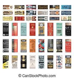 Set gift voucher - Gift voucher template with various modern...