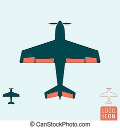 Plane icon isolated - Plane icon. Light aircraft or sport...