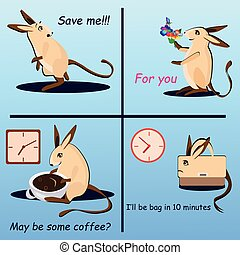 Vector set of hopping mouse in different moods - Hopping...