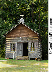 Log House Church - One room country church in troy,Alabama