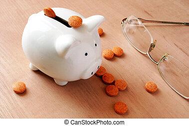 Piggy bank and pills.