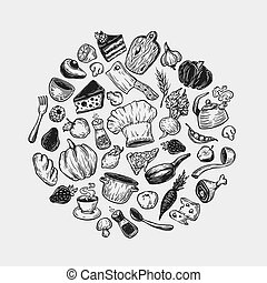 Cooking, Round Composition. - Hand drawn vector cooking and...