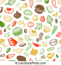 Burger and ingredients, Pattern. - Burger ingredients. Hand...