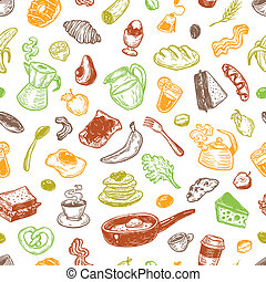 Breakfast Time, Pattern. - Hand drawn pattern with breakfast...