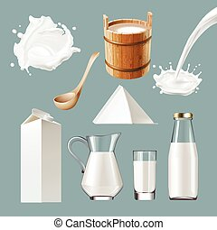Set vector icons of dairy products, splashes.