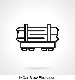 Wood rail-car simple line vector icon - Railroad transport...
