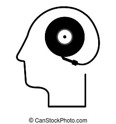 black silhouette head with record player vector illustration