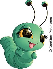 Cute caterpillar cartoon - beautiful cute caterpillar on a...