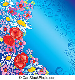 Flowers. - Beautiful flowers on a blue background with place...