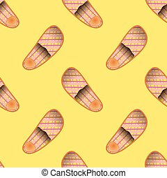 Home Soft Orange Slippers Seamless Pattern on Yellow...
