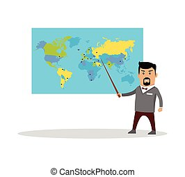 Geography Lesson Flat Design Vector Illustration.