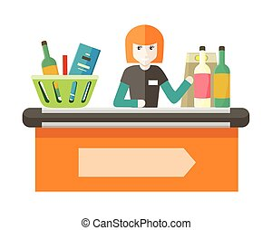 Cashier Behind the Store Counter Illustration. - Cashier...