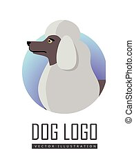 Dog Logo Vector of White Standard Poodle Isolated.