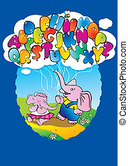 Elephants. - Two elephants with alphabet balloons and place...