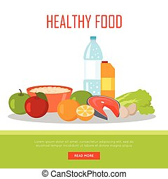 Healthy Food Banner Isolated on White Background.