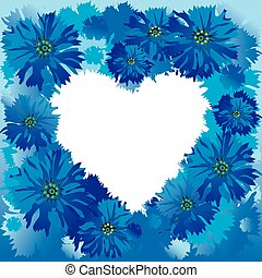 Cornflowers. - Silhouette of the heart made of cornflowers...