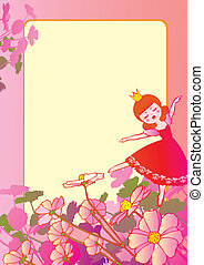 Dancing. - Princess dancing on the flowers and sample text....