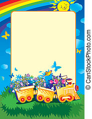 Train with flowers - Cartoon train with flowers and sample...