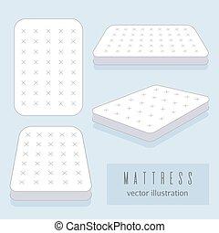 White mattress vector illustration. Motel room sleeping...