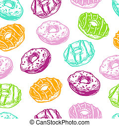 Vector Donuts, Pattern. - Hand drawn vector pattern with...