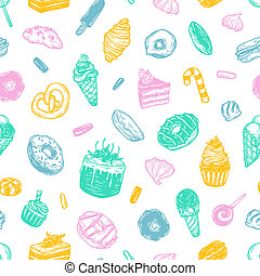 Vector sweets, Pattern. - Vector sweets. Seamless pattern...