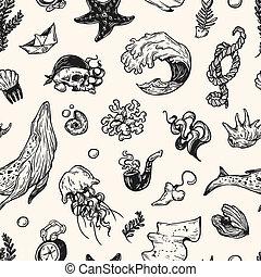 Nautical, Pattern. - Sea pattern. Marine pattern. Nautical...