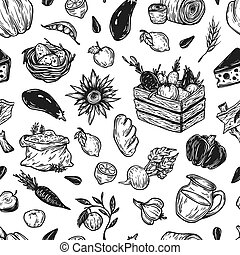 Cooking pattern. - Kitchen seamless pattern. Cooking...