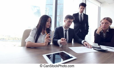 Business people asking opinion - Business people asking your...