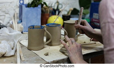 Ceramics. Making the cover for the cup in the ceramic...