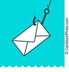 Phishing mail concept with envelope on hook