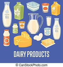 Dairy banner with natural food icons - Dairy products banner...