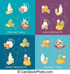 Dairy banners set with milk products - Four dairy banners...