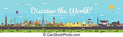 Discover the World poster with famous attractions vector...