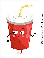Funny take away glass isolated cartoon character