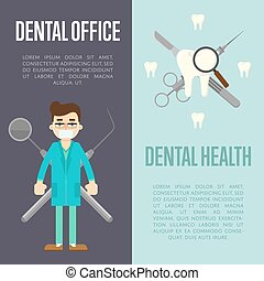 Dental banners set with dentist and instruments - Dental...