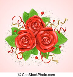 Decorative bouquet of red roses