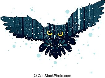 Snowy Winter Forest and Owl - Falling snow in dark winter...