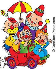 Clowns. - Clowns in the car on a white background. Vector...