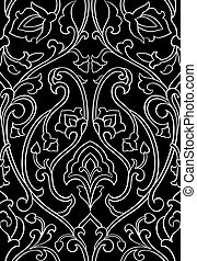 Floral black and white ornament. - Black and white floral...