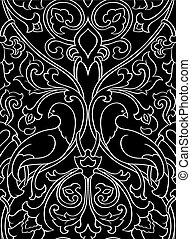 Black pattern with birds. - Black and white floral pattern....
