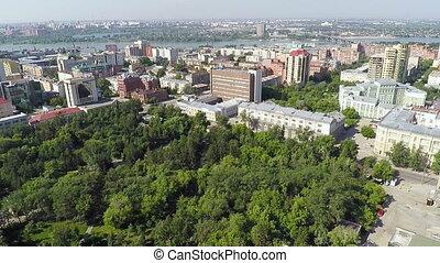 Aerial shot, panorama of Novosibirsk