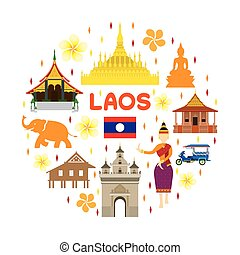 Laos Travel Attraction Label - Landmarks, Tourism and...
