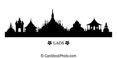 Laos Landmarks Skyline in Silhouette - Cityscape, Travel and...