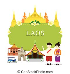 Laos Landmarks, People in Traditional Clothing, Frame -...