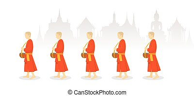 A Row of Buddhist Monks on Alms Round, Thailand Background -...